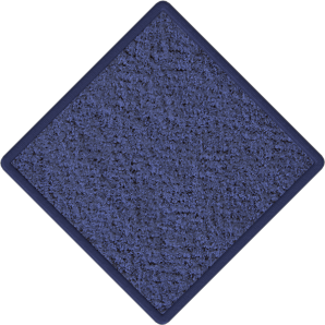 Photograph of a blue, square tile of carpet