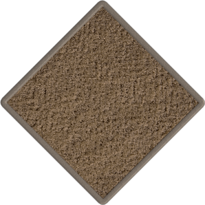 Photograph of a dark brown, square tile of carpet
